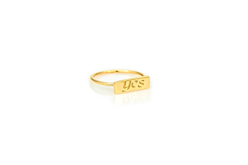 14k Yellow Gold YES Pinky Ring