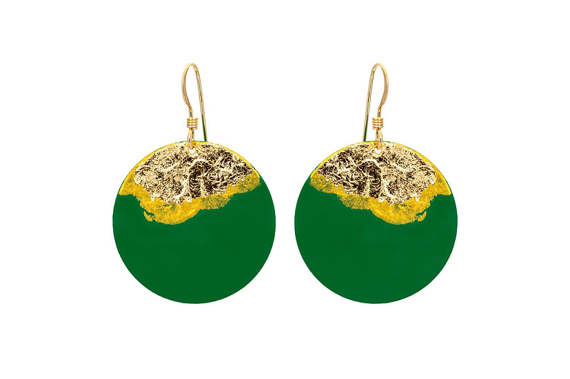 Gold Dipped Coin Earrings - Forest