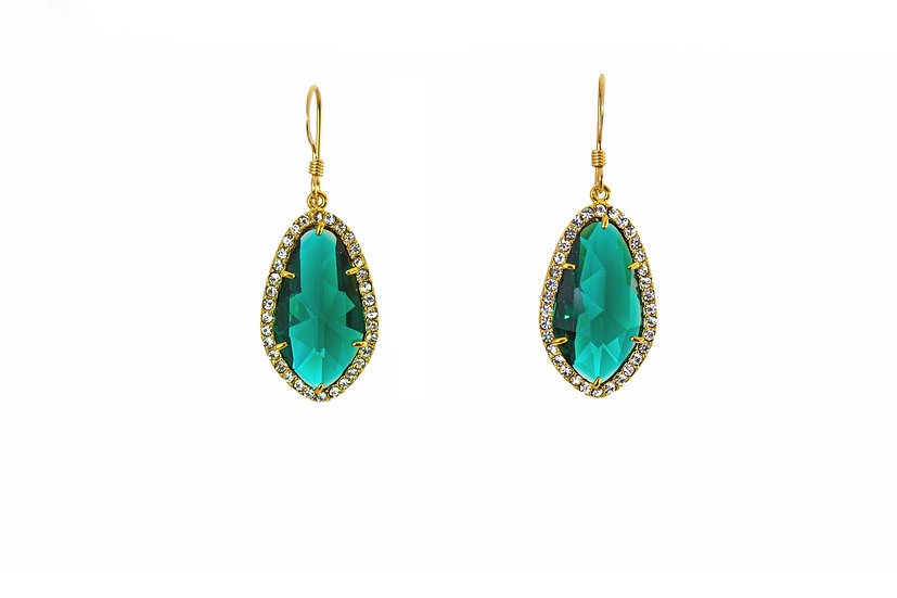 Deco CZ Color Therapy Gold | Emerald