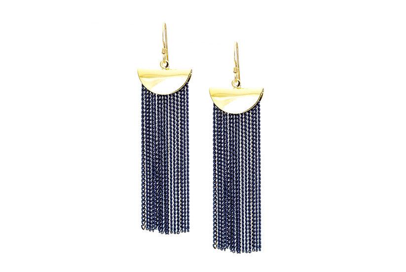 Chain Cascade Earrings - Deep Blue