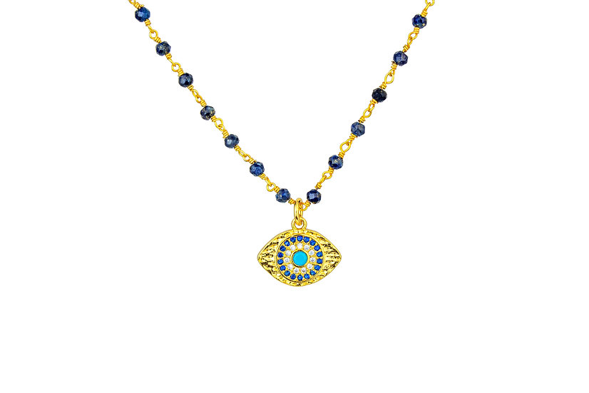 CZ + Crystal Evil Eye Necklace