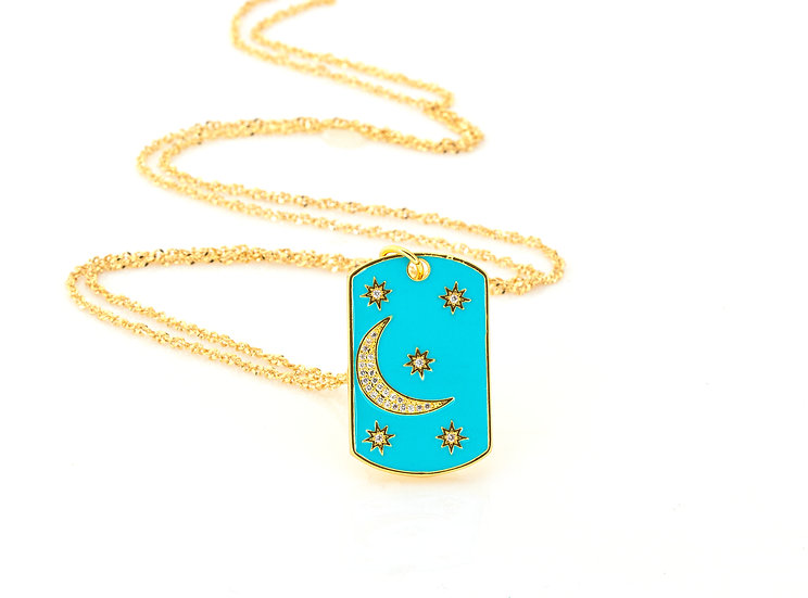 Moon and Star Tag Necklace