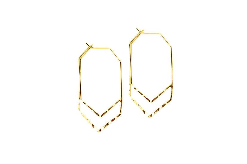 Geometric Gold Armor Hoops