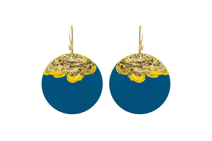 Gold Dipped Coin Earrings -Deep Blue