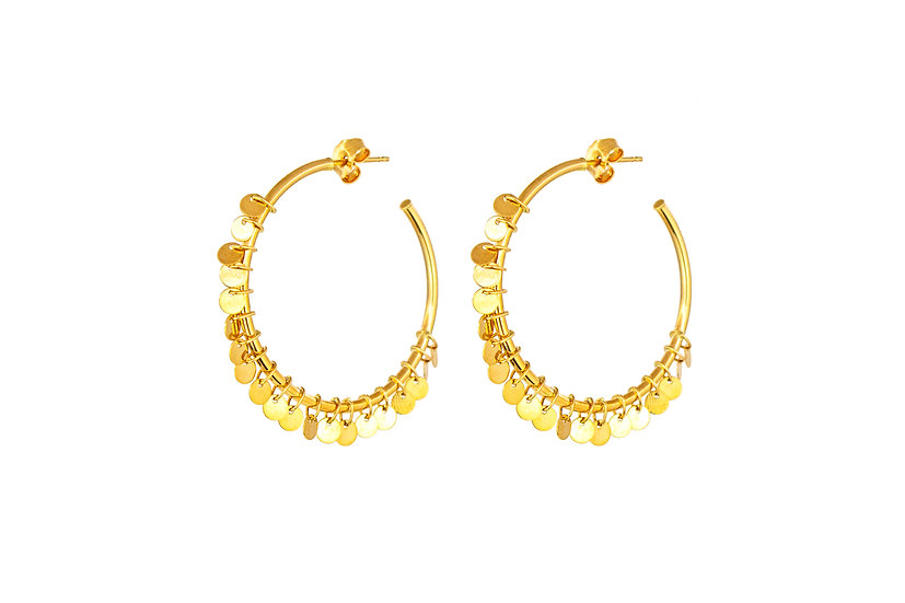 14k Yellow Gold Coin Fringe Hoops