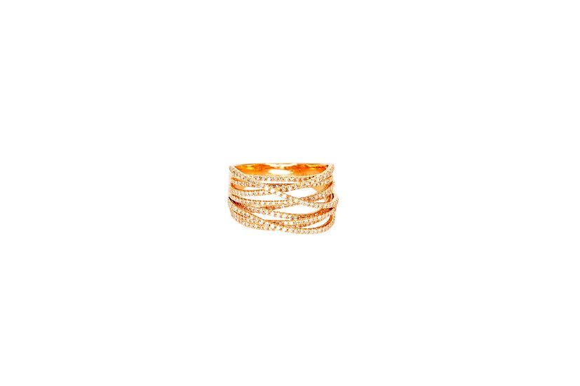 Diamond + 14k Rose Gold Nest Ring