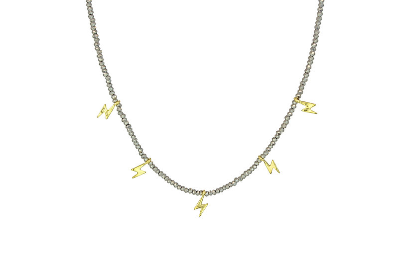 Gemstone Bolt Choker Necklace