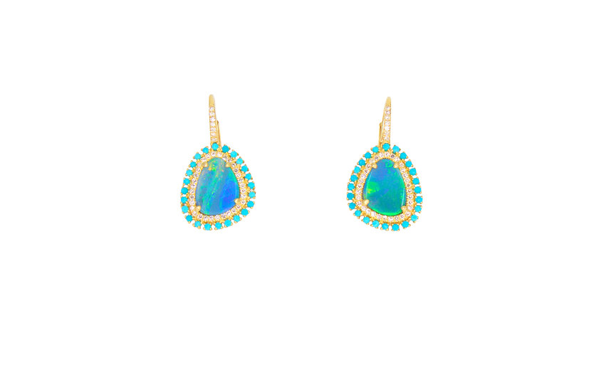 Opal + Turquoise + Diamond + 14k Gold