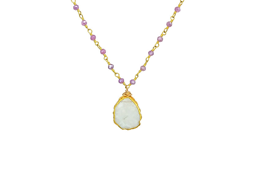 Rainbow Moonstone + Silverite Slice Necklace