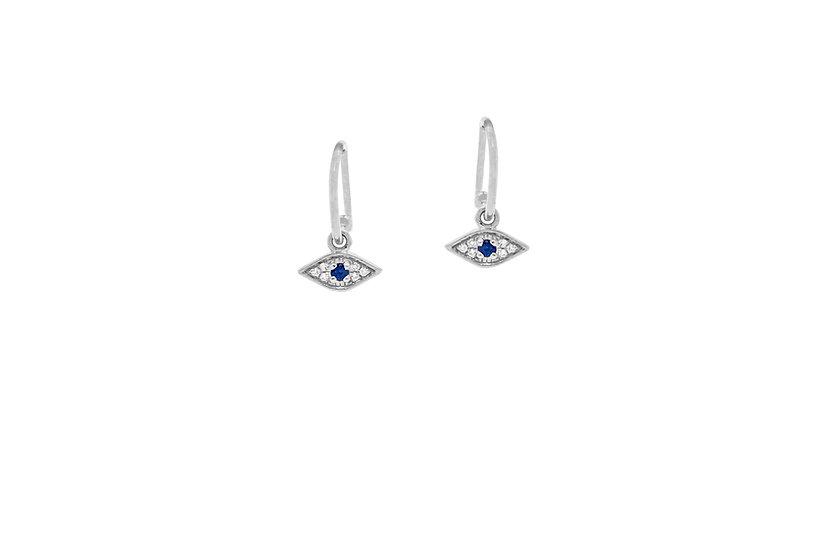 Sapphire, Diamond + 14k White Gold