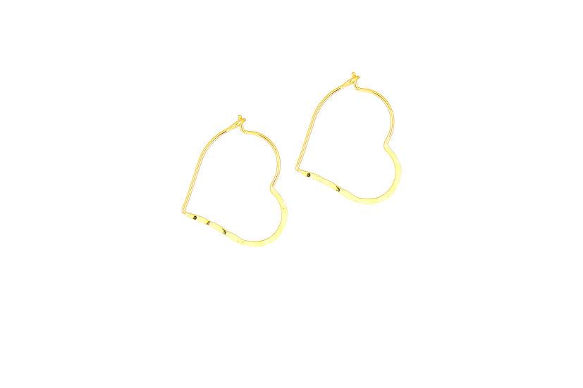 Yellow Gold Heart Hoops