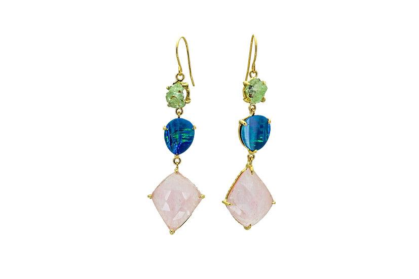 Rose Quartz, Opal + Green Garnet