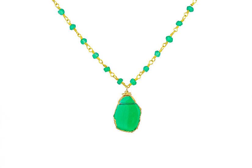 Green Onyx Slice Necklace