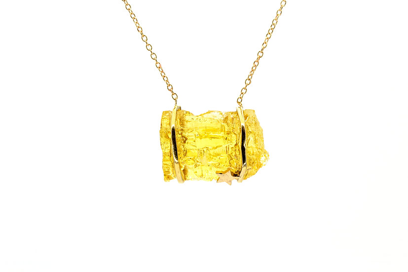 Gemstone + 14k Gold Star Necklace
