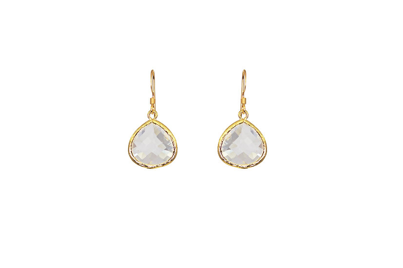 Classic Color Therapy Gold Earrings | Clear Crystal