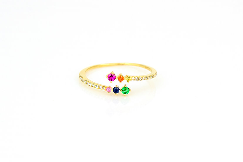 Rainbow Sapphire + Diamond Twist Ring