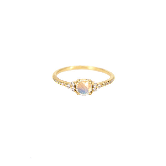 Moonstone + Diamond Ring