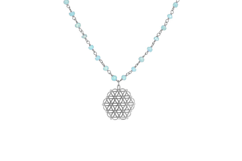 Flower of Life + Silverite Chain