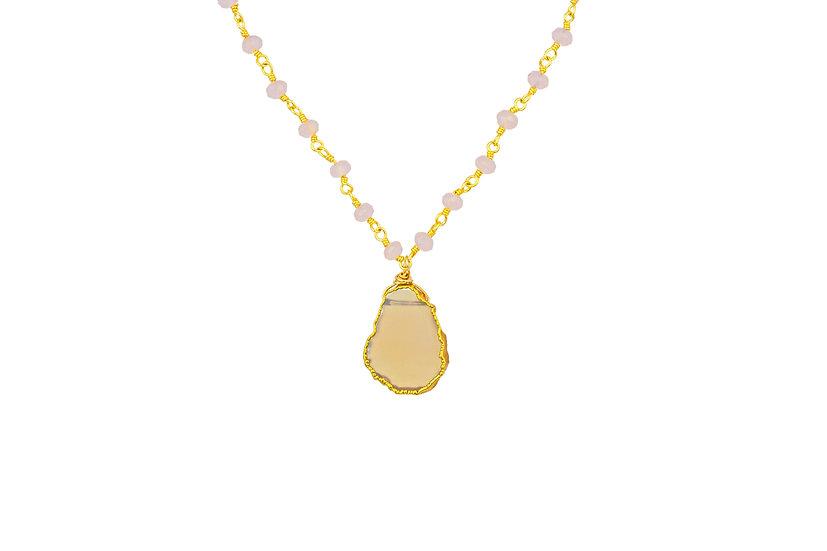 Rose Quartz Slice Necklace