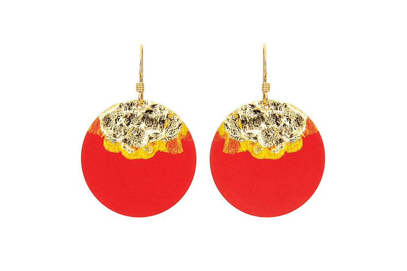 Gold Dipped Coin Earrings -Vibrant Orange