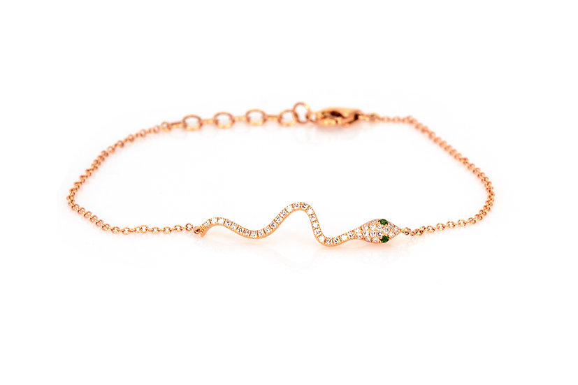 Emerald, Diamond + 14k Gold Bracelet