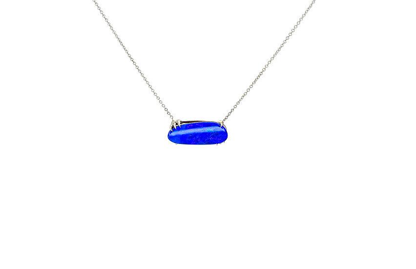 Blue Opal + 14k White Gold