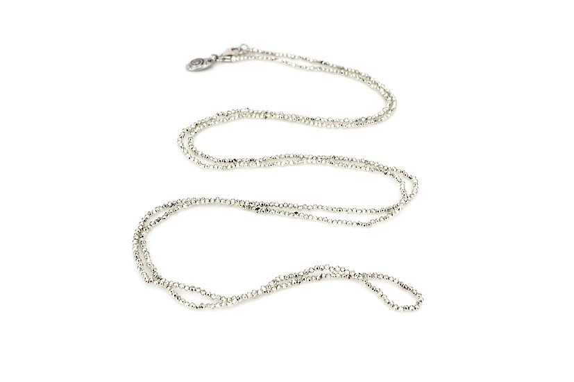 Pyrite Bead Long Necklace