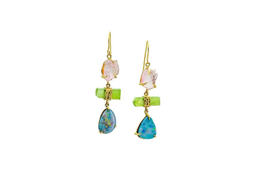 Opal, Peridot + Raw Rose Quartz