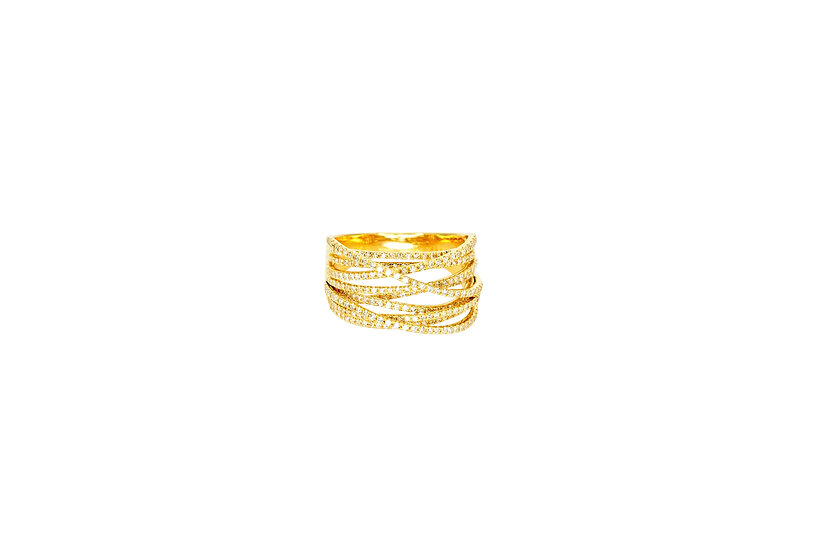 Diamond + 14k Yellow Gold Nest Ring