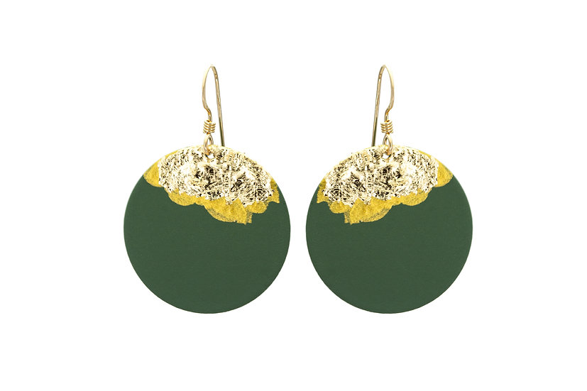 Gold Dipped Coin Earrings -Green