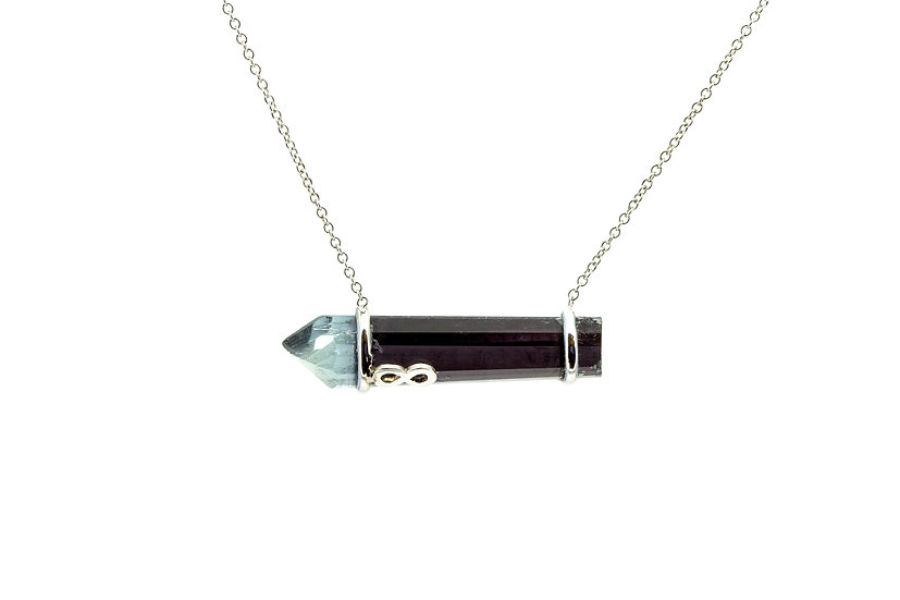 Gemstone + 14k White Gold Infinite Necklace