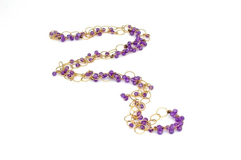 Purple CZ Cluster Necklace