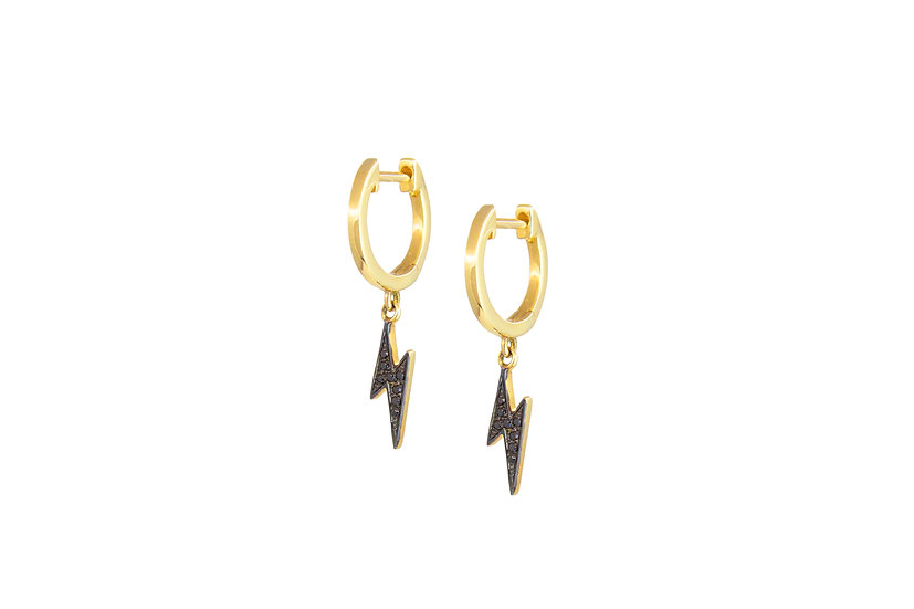 Black Diamond Lightning Bolt Earrings