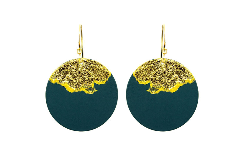 Gold Dipped Coin Earrings -Blue