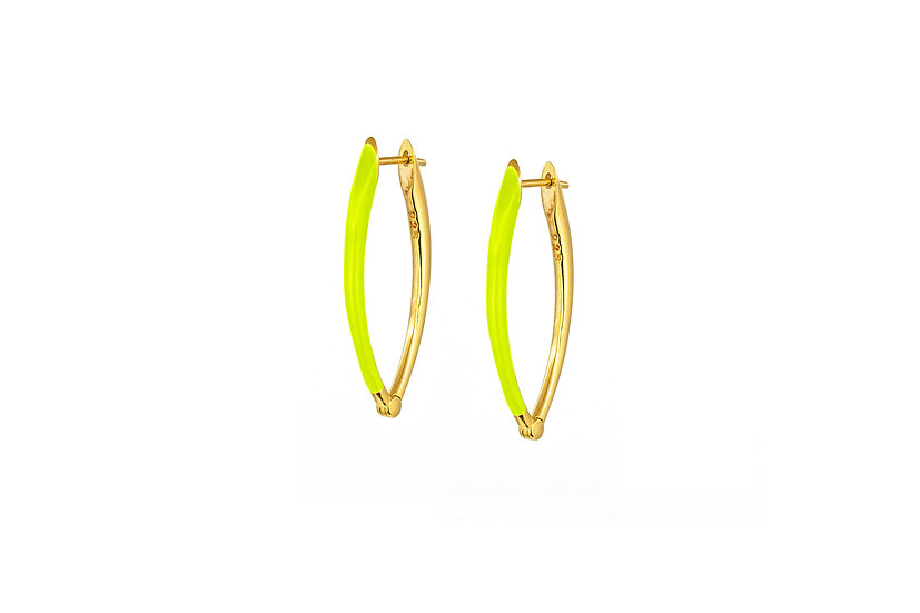 Neon Yellow and Gold Vermeil Earrings