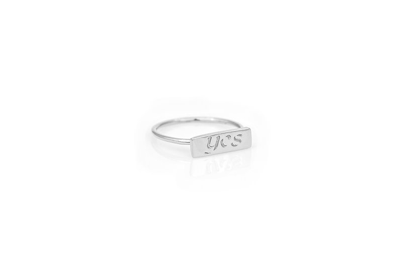 14k White Gold YES Pinky Ring