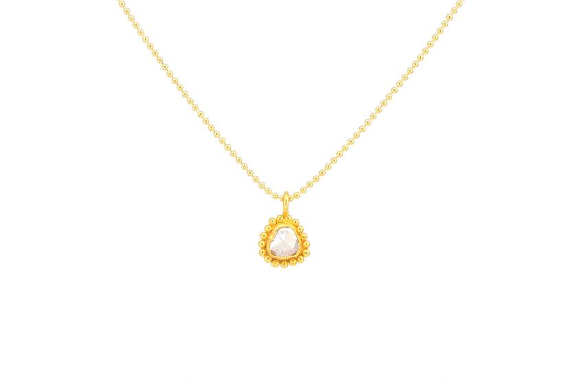 Rose Cut Diamond + Ball Chain