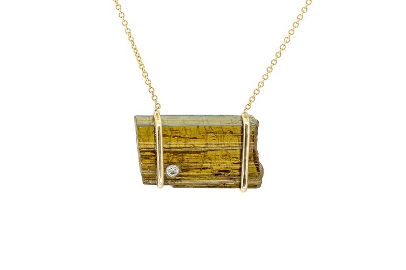 Epidote, Diamond + 14K Yellow Gold