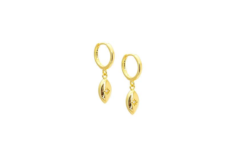 CZ Star Shell Earrings