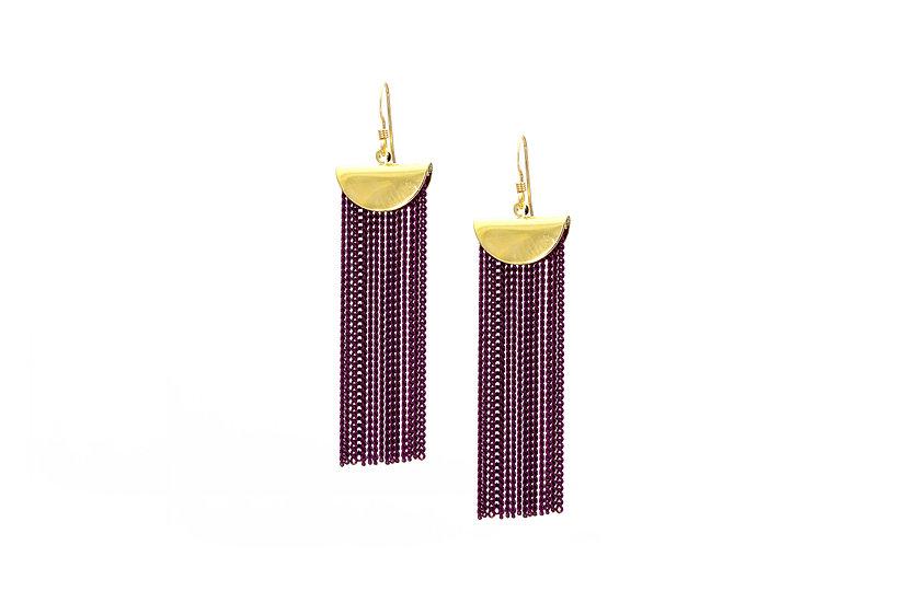 Plum Chain Cascade Earrings