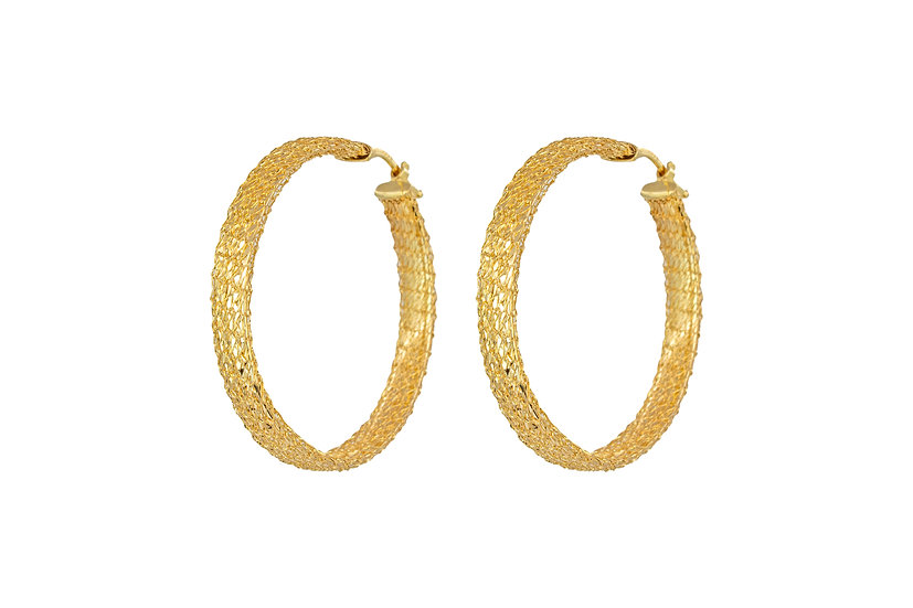 14k Gold Chain Hoops