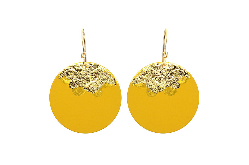Gold Dipped Coin Earrings -Honey