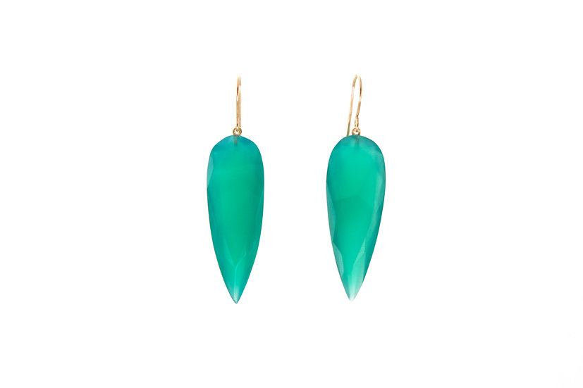 Green Onyx Drops + 14k Gold Hooks