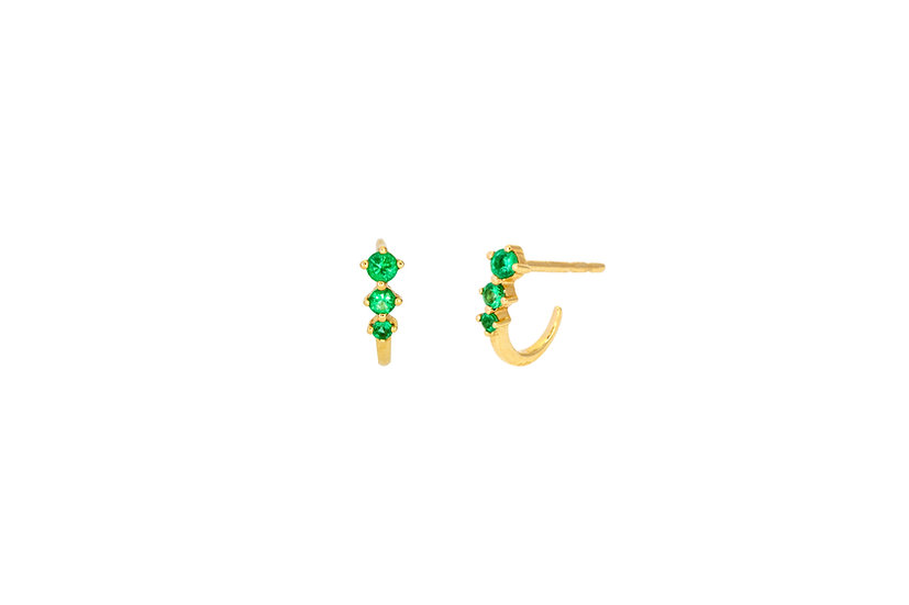 Emerald + 14k Yellow Gold Huggie Earrings