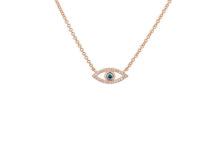 Blue Diamond + 14k Rose Gold Evil Eye