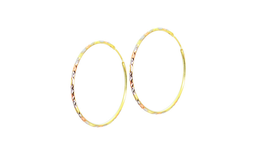 Mixed 14k Gold Hoops