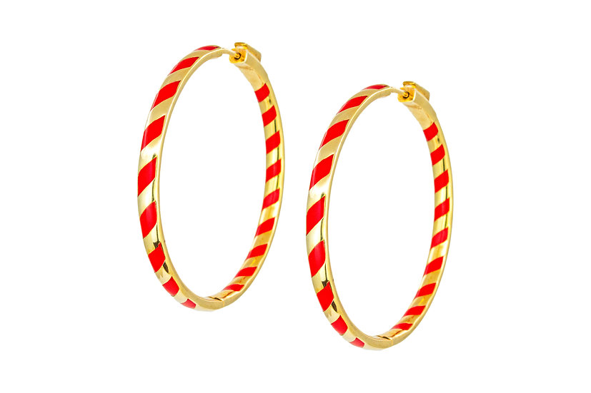 Gold Candy Stripe Hoop Earrings