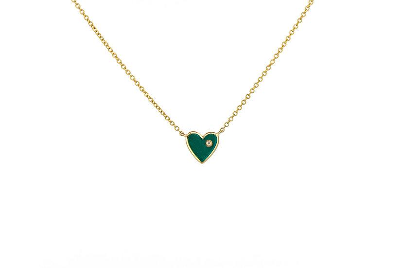 Enamel Heart and Diamond