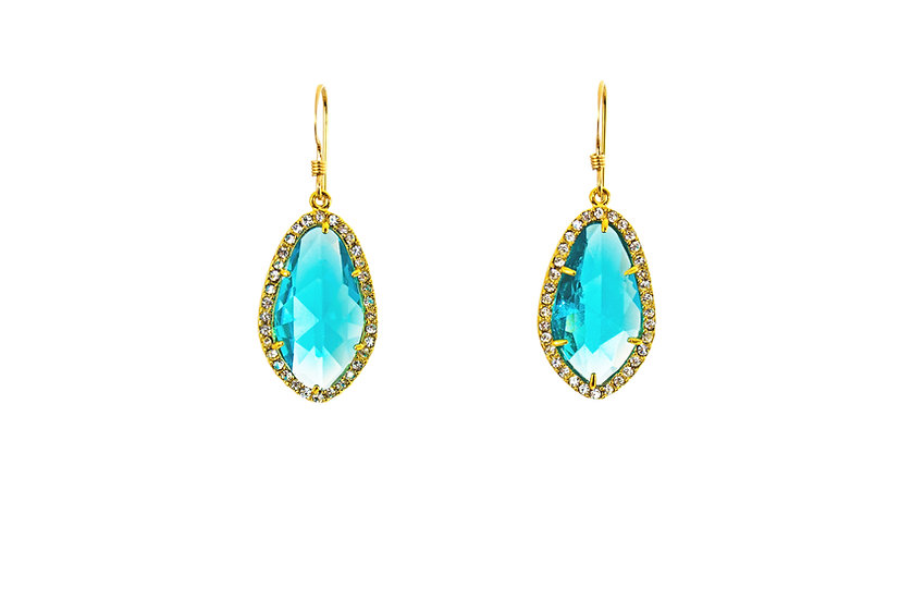 Deco CZ Color Therapy Gold | Crystal Turquoise