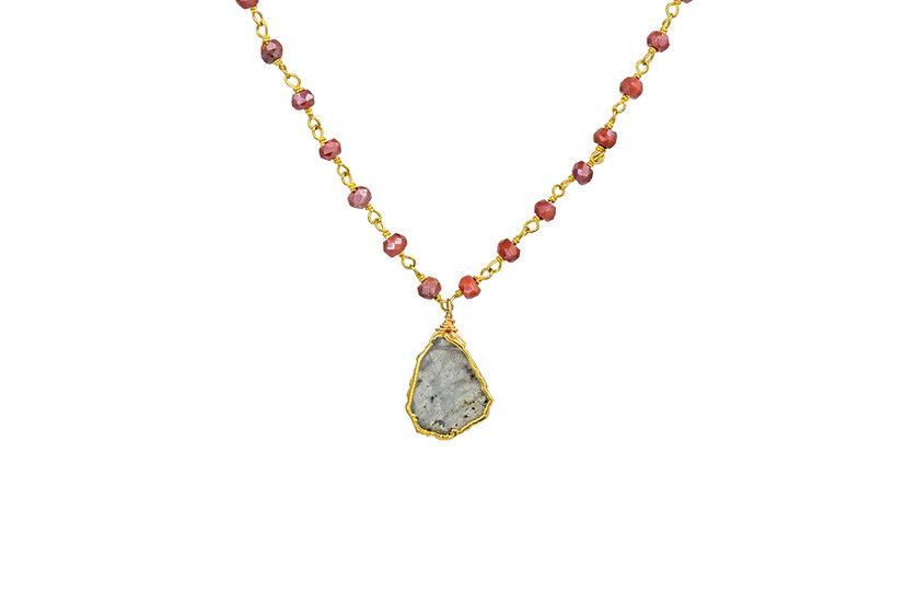 Labradorite + Carnelian Slice Necklace